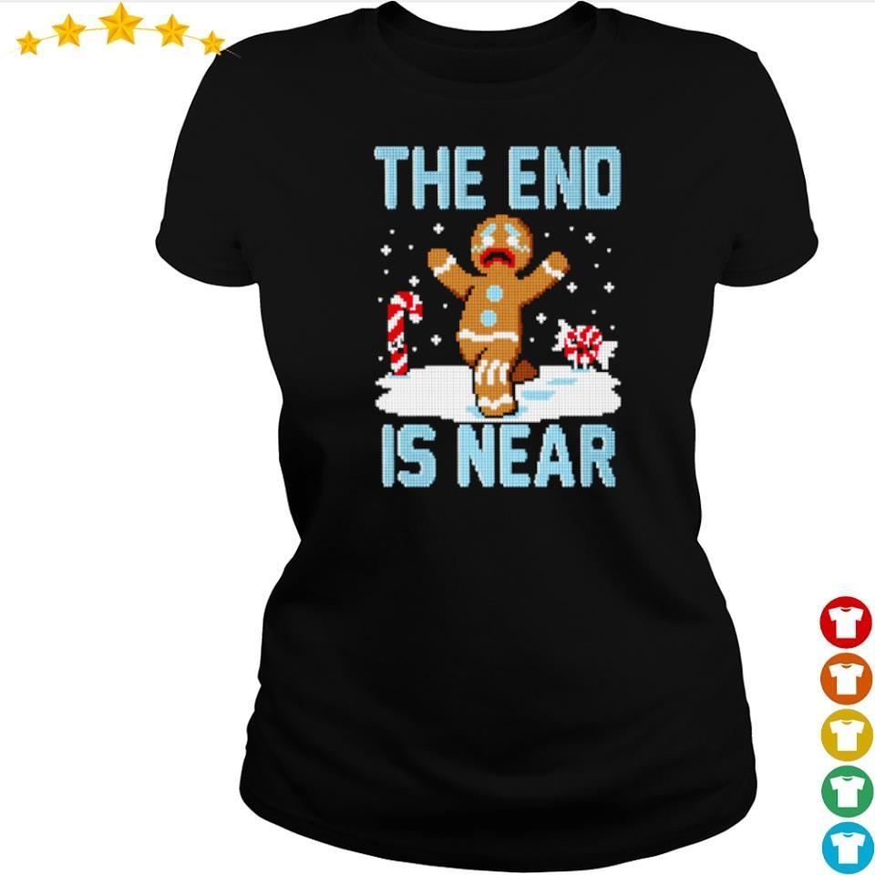 Ginger the end is near happy Christmas sweater ladies tee