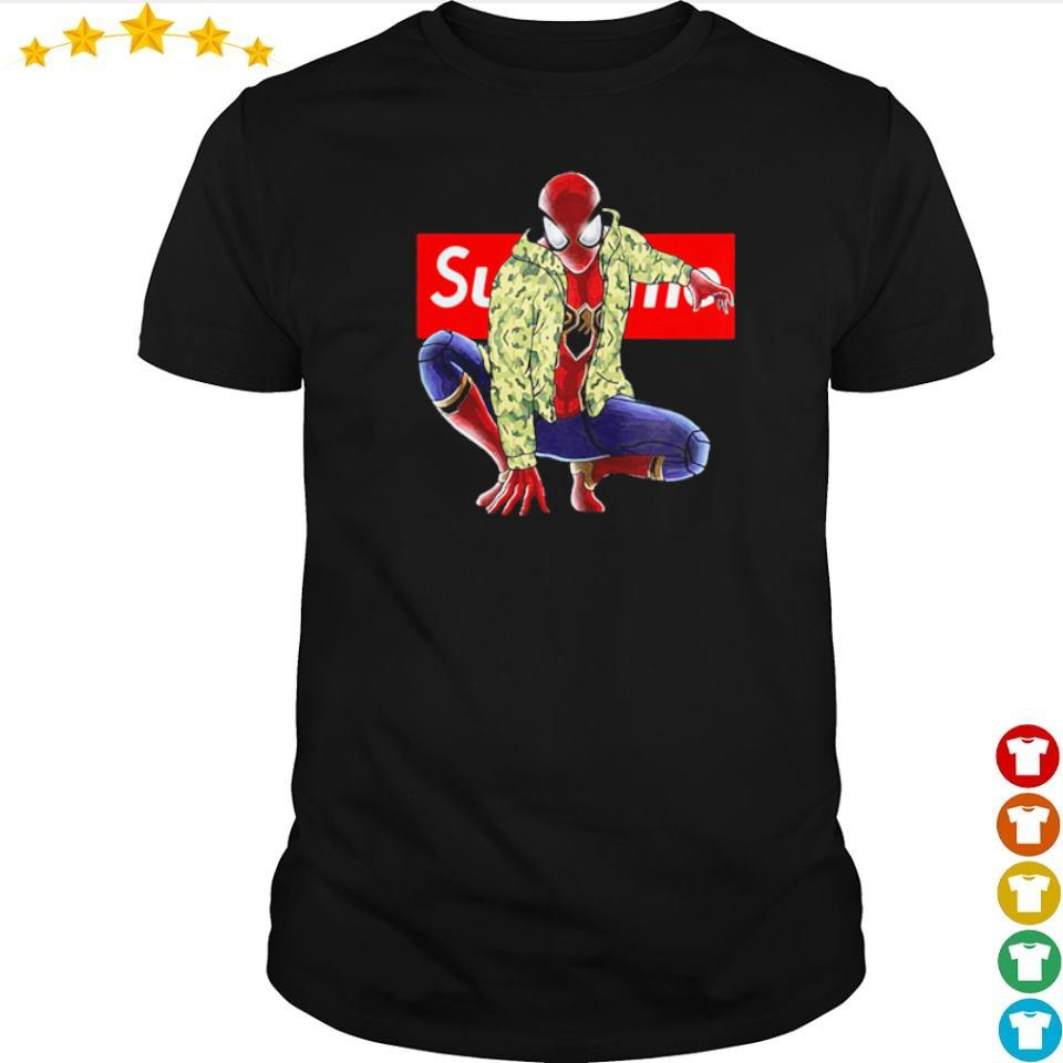 Marvel Spiderman wearing Supreme clothes shirt
