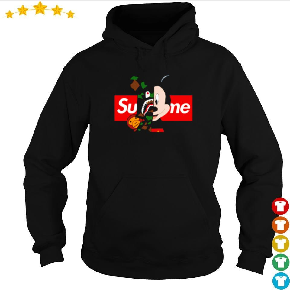 Mickey Mouse wearing Bape x Supreme s hoodie