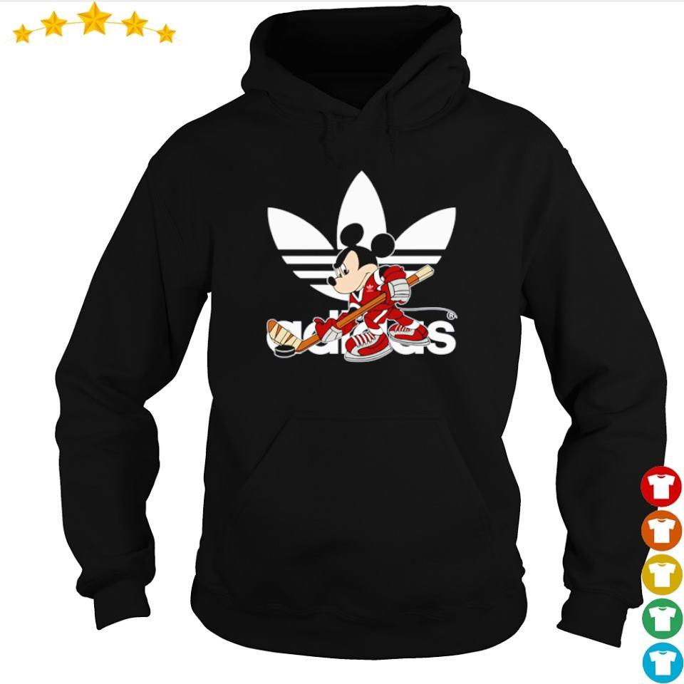 Micky Mouse wearing Adidas play hockey s hoodie