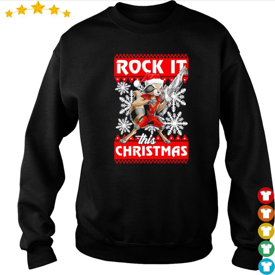 Rocket raccoon rock it this Christmas sweater
