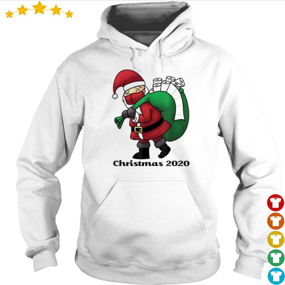 Santa Claus with facemask and toilet paper merry Christmas sweater hoodie