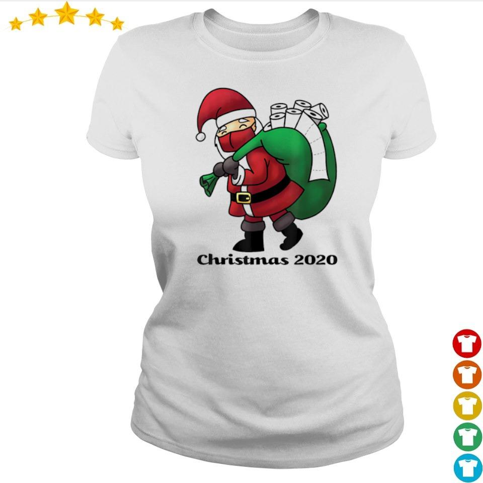 Santa Claus with facemask and toilet paper merry Christmas sweater ladies