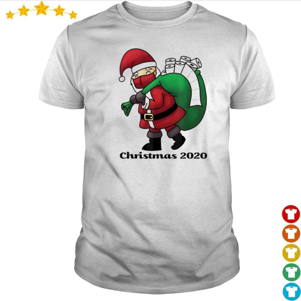Santa Claus with facemask and toilet paper merry Christmas sweater shirt