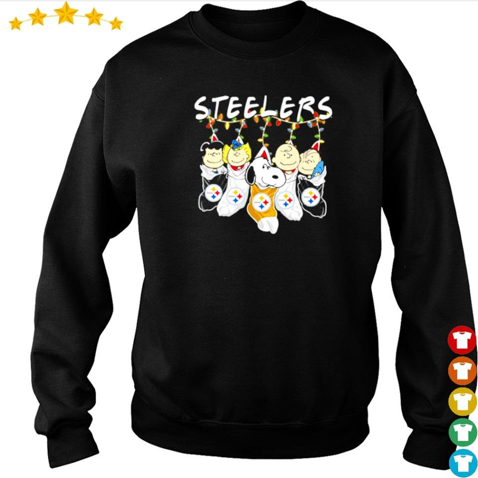 Snoopy and friends socks hanging Steelers Christmas sweater