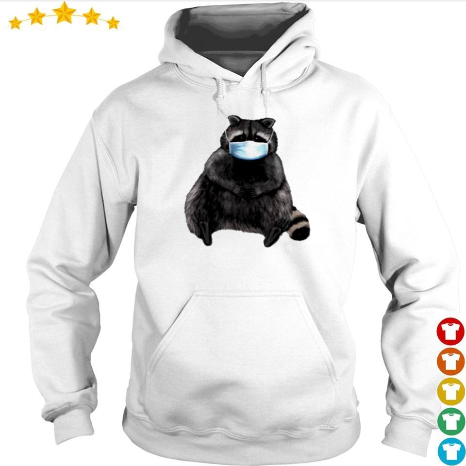 Sweet racoon wearing facemask s hoodie