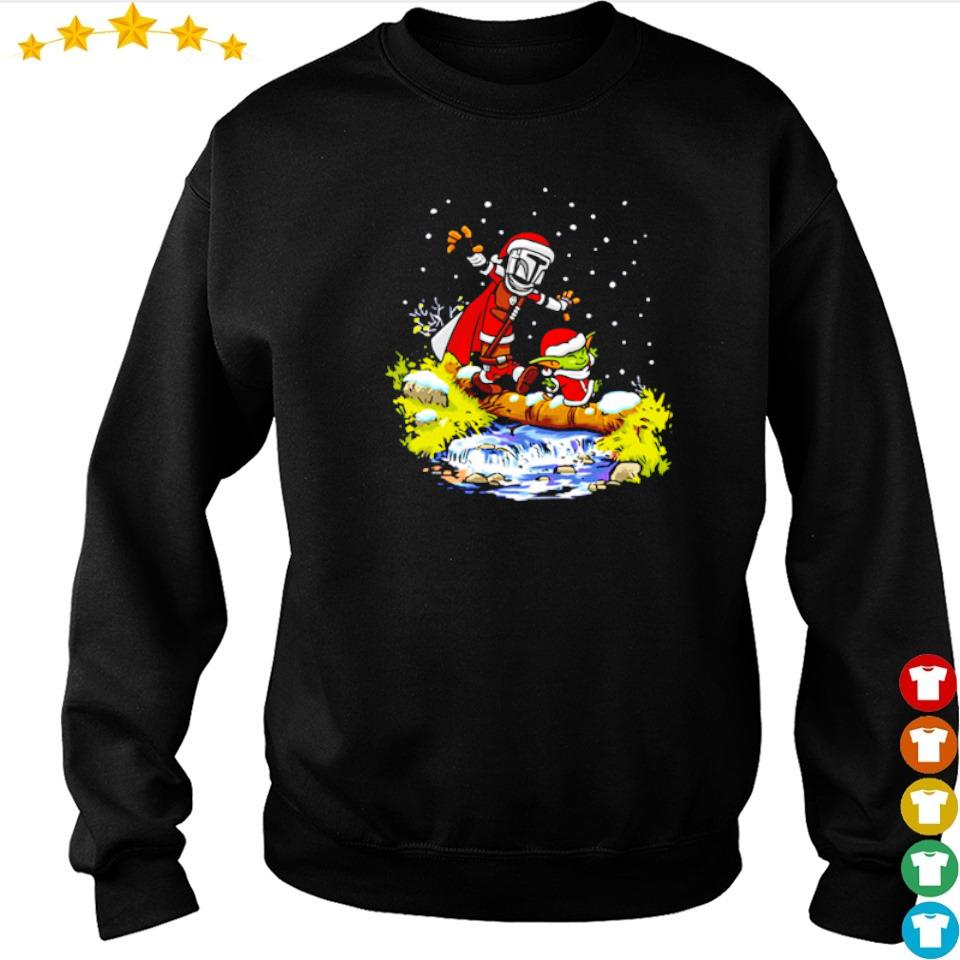 The Mandolrian and Baby Yoda walking under the snow Christmas sweater