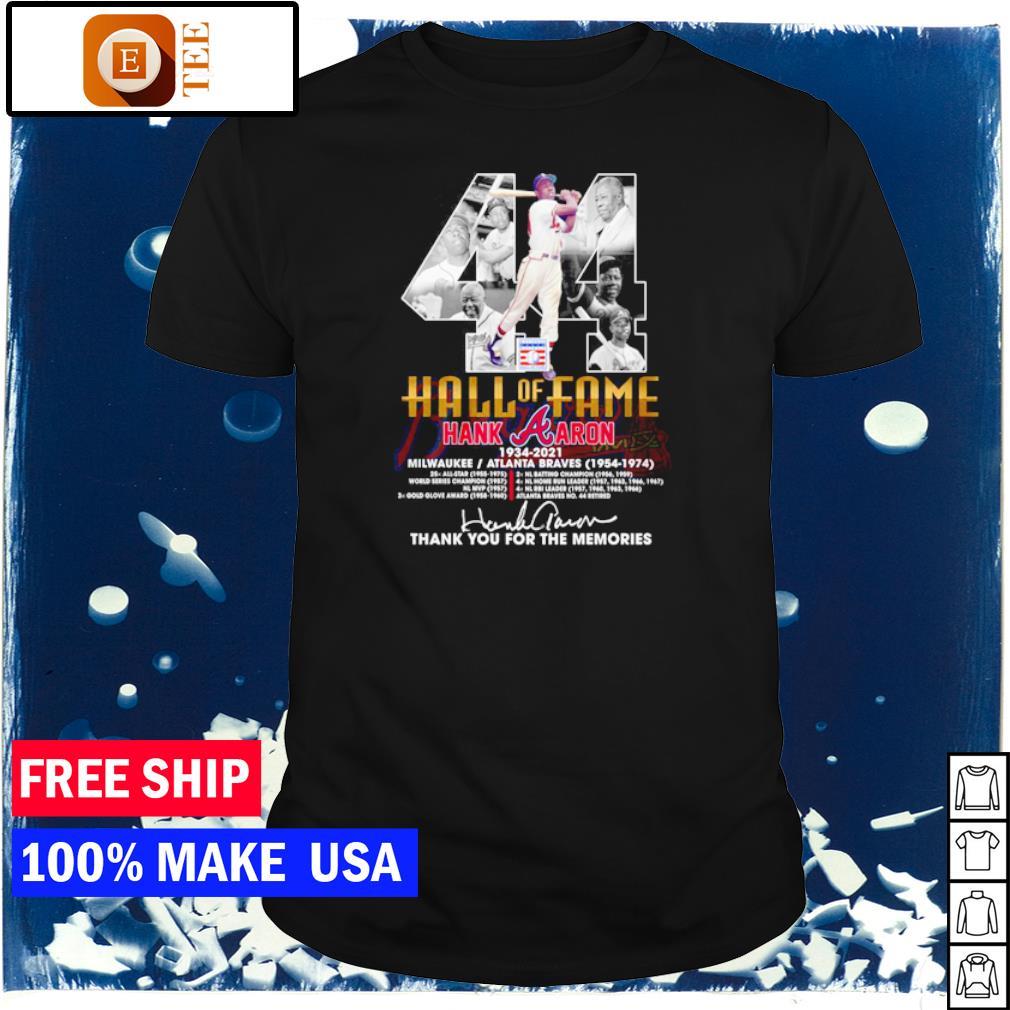 Hall of Fame Hank Aron number 44 Atlanta Braves 1954 1974 thank you for the memories shirt