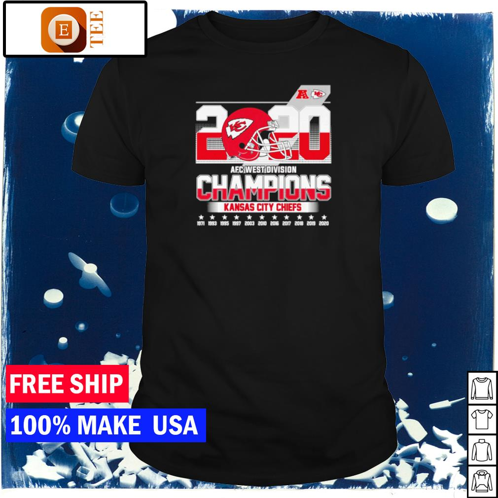 Kansas City Chiefs 2020 AFC West Division Champions 1971 to 2020 shirt