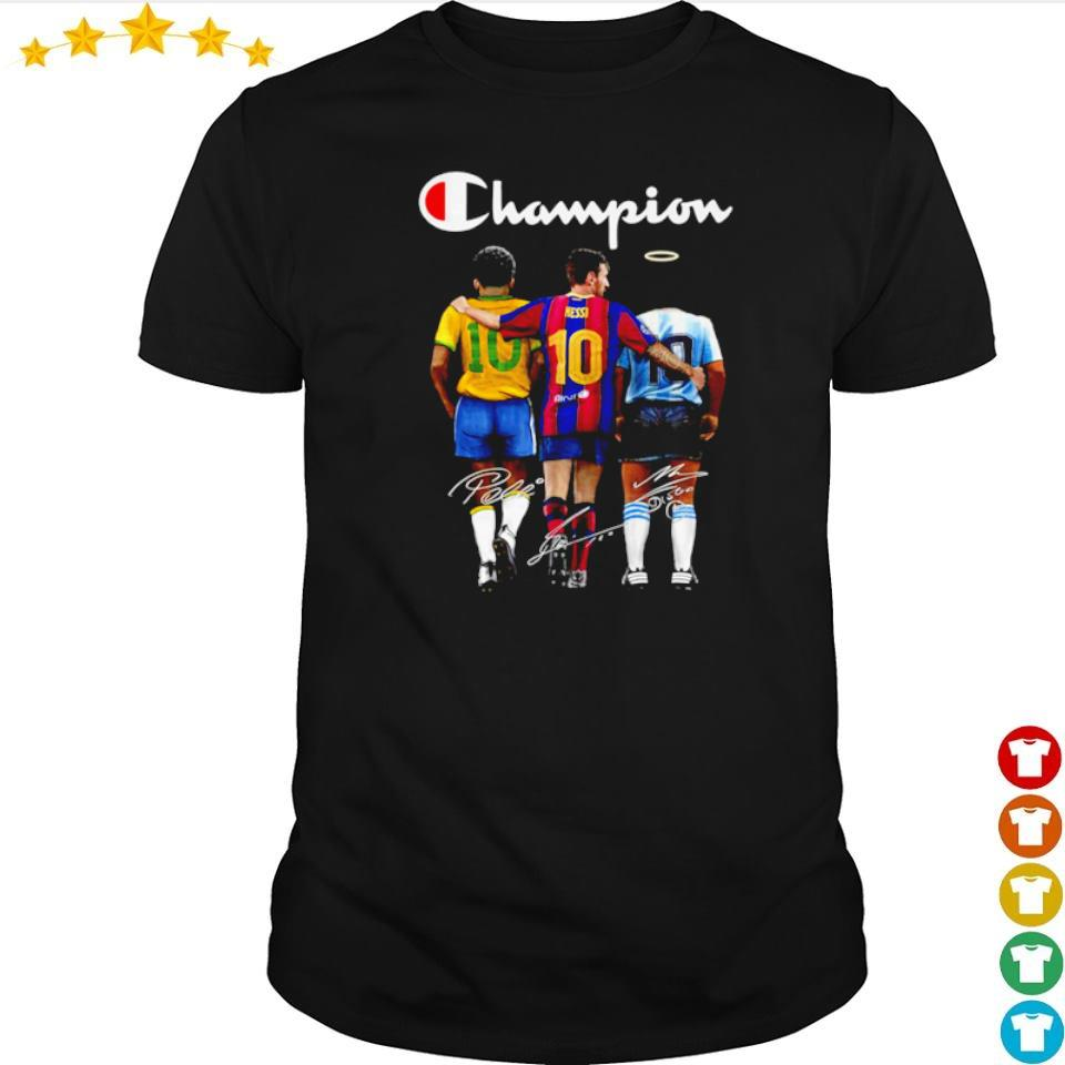 Messi Pele and Diego Maradona champion signature shirt
