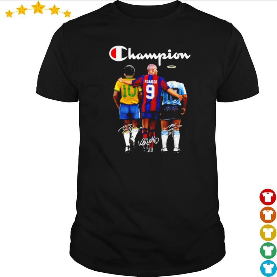 Ronaldo Pele and Diego Maradona champion signature shirt