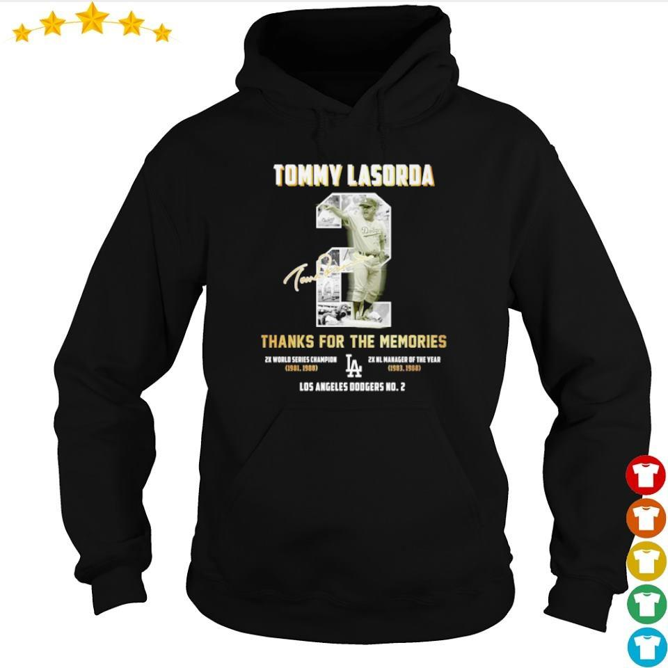 Tommy Lasorda thanks for the memories Los Angeles Dodgers No 2 signature s hoodie